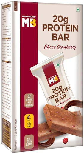 MuscleBlaze Protein Bar 20g Protein Choco Cranberry 65g Each (Pack of 12)