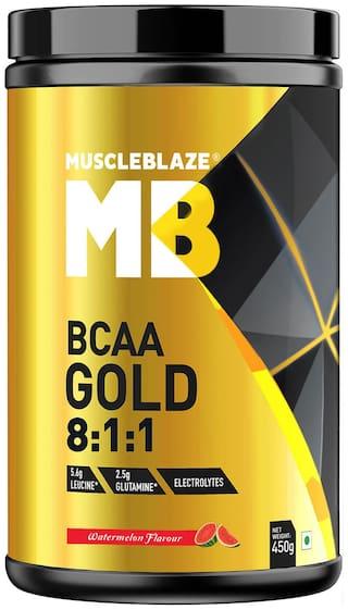MuscleBlaze BCAA Gold 8:1:1 with Higher Leucine, Electrolytes, Glutamine (Watermelon, 450g) Pack of 1