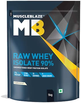 MuscleBlaze Raw Whey Isolate Unflavored 90% 1 kg