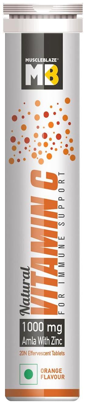 MuscleBlaze Natural Vitamin C with 1000mg Amla & Zinc  20 tablet(s)  Orange Pack of 1