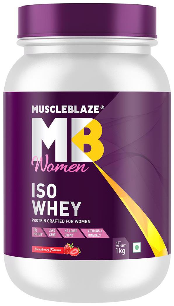 Muscleblaze Women Iso Whey 100% Whey Protein Isolate  Strawberry  1 kg / 2.2 lb   Pack of 1