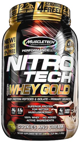Muscletech, Nitro Tech, 100% Whey Gold, Cookies And Cream (1 kg)