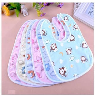 My NewBorn Fast Dry-Premium Quality Super Soft Cotton Daily Use Elegant And Stylish Velcro Bibs For Baby Boy And Baby Girl