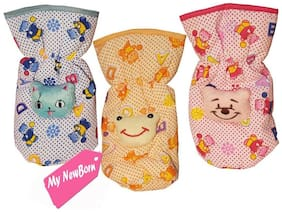 My Newborn High Quality Daily Use Attractive Teddy Cotton Bottle Cover - Pack of 3