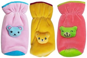 My Newborn High Quality Daily Use Attractive Teddy Velvet Bottle Cover - Pack of 3