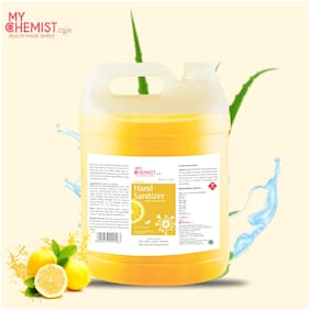 MyChemist.co.in Doctor's Choice NATURAL LEMON 5 Litre Alcohol Based Herbal Hand Sanitizer with 70% IPA with Aloe Vera, Tulsi and Neem Leaf Extract and Get Free Hand Sanitizer Spray Bottle 500ml