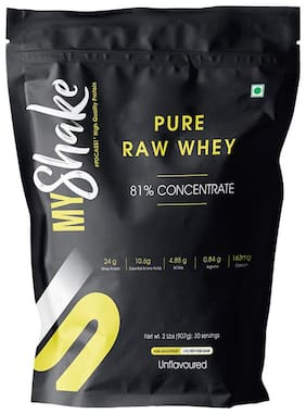 Myshake Pure Raw Whey Protein Concentrate 81% Unflavoured 2 Lb (907 g)