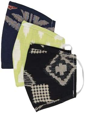 Myshka Unisex Printed 3 Ply Reusable Pack of 3 Outdoor Masks