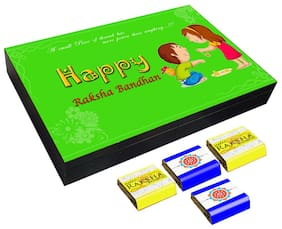 Mystik Beautiful Green theme Happy Raksha Bandhan 12 pc Chocolate Gift- For Brother/For Sister