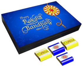 Mystik Beautiful Blue theme Happy Raksha Bandhan 12 pc Chocolate Gift- For Brother/For Sister
