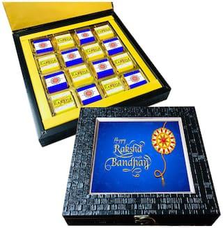 Mystik Blue color Happy Raksha Bandhan 16 pc Chocolate Gift- For Brother/For Sister
