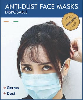 MYSWA Wecare 3PLY 3 Layers Non Woven Disposable Face Mask (Pack of 100)