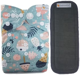 Nabhasya Ease Living Vibrant Cloth Diapers for Babies with 5 Layer Bamboo Charcoal Diaper Inserts - Icy Cream Cones