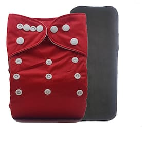 Nabhasya Ease Living Elegant Colours Cloth Diaper with Bamboo Charcoal Insert-Red Size-M