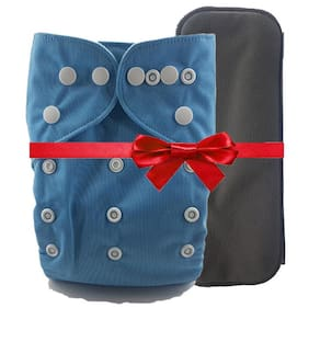 Nabhasya Ease Living Elegant Colours Cloth Diaper with Free Bamboo Charcoal Insert-Sky Blue (Pack of 2)