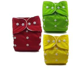 Nabhasya Ease Living Solid Color Cloth Diaper Red;Green and Yellow(Pack of 3)