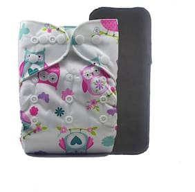 Nabhasya Ease Living Printed Cloth Diaper with Free Bamboo Charcoal Insert-Tiny Butterfly Size M (Pack of 2 )