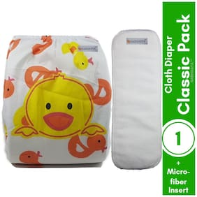 Nabhasya Ease Living Classic Reusable Pocket Baby Cloth Diaper with Wetfree Insert (Pack of 2)