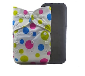 Nabhasya Ease Living Printed Cloth Diaper with Free Bamboo Charcoal Insert-Lemon Green Polka Dots Size M (Pack of 2 )