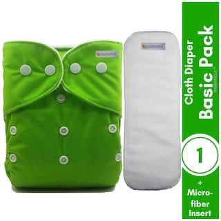 Nabhasya Ease Living Baby Basic Cloth Diaper with Natural Microfiber Insert Green