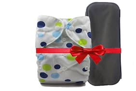 Nabhasya Ease Living Cloth Diaper With Bamboo Charcoal Insert-Blue Dot