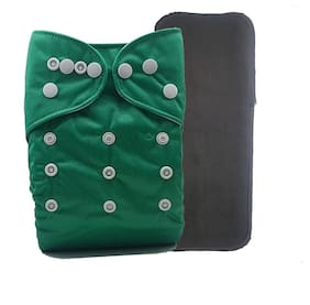 Nabhasya Ease Living Elegant Colours Cloth Diaper with Bamboo Charcoal Insert-Green Size-M