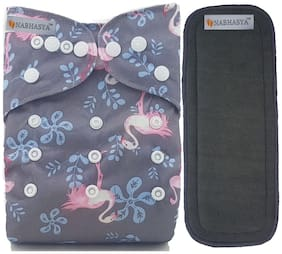 Nabhasya Ease Living Vibrant Cloth Diapers for Babies with 5 Layer Bamboo Charcoal Diaper Inserts - Grey Flamingo