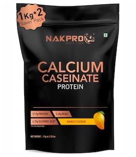 NAKPRO CALCIUM CASEINATE | Slow-Digesting Casein Protein Powder 2 kg Mango, 27.9g Protein, 5.4g BCAA & 6.2g Glutamine for Muscle Growth & Recovery - 1 kg ( Pack of 2 ) )