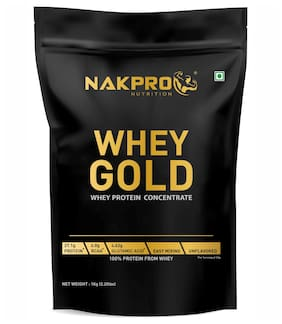 NAKPRO GOLD 100% Whey Protein Concentrate, 27.1g Protein, 6g BCAA & 4.6g Glutamine, Whey Protein Concentrate Supplement Powder - 1 Kg Unflavour