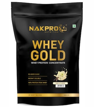 Nakpro Gold 100% Whey Protein Supplement Powder Vanilla 1Kg