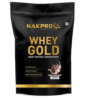NAKPRO GOLD 100% Whey Protein Concentrate, 26g Protein, 5.7g BCAA & 4.4g Glutamine, Whey Protein Supplement Powder - 1 kg Cookies & Cream