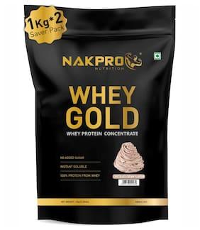 NAKPRO GOLD 100% Whey Protein Concentrate 2 kg Cream Chocolate, 25g Protein, 5.5g BCAA & 4.2g Glutamine, Whey Protein Supplement Powder 1 kg ( Pack of 2 ) )