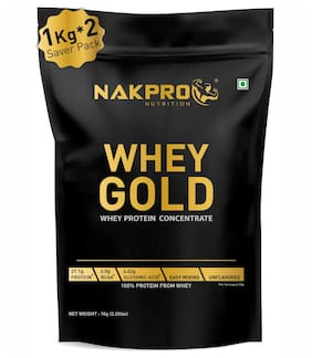 NAKPRO GOLD 100% Whey Protein Concentrate, 27.1g Protein, 6g BCAA & 4.6g Glutamine, Whey Protein Concentrate Supplement Powder - 1 Kg Unflavour (Pack of 2)