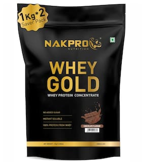 NAKPRO GOLD 100% Whey Protein Concentrate 2 kg Chocolate, 25g Protein, 5.5g BCAA & 4.2g Glutamine, Whey Protein Supplement Powder 1 kg ( Pack of 2 ) )