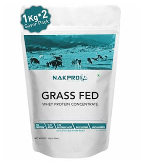 NAKPRO Grass Fed Whey Protein Concentrate 80%, Pure, Raw Whey Protein 2 kg Supplement Protein Powder, UK made - Unflavoured 1 kg ( Pack of 2 ) )