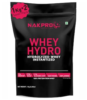 NAKPRO Hydro Whey Protein Hydrolyzed, Raw Hydrolyzed Whey Protein 2 kg Supplement Powder - Unflavoured 1 kg ( Pack of 2 ) )