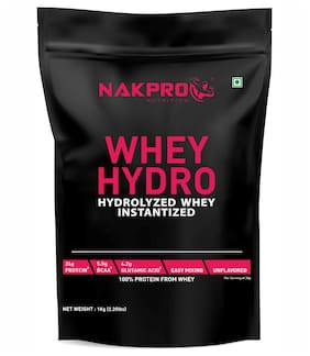 Nakpro Hydro Whey Protein Hydrolyzed Supplement Powder 1Kg Unflavoured