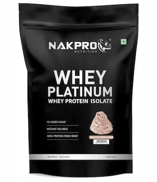 NAKPRO PLATINUM 100% Whey Protein Isolate 1 kgCream Chocolate, 28g Protein, 6.4 BCAA & 4.9g Glutamine, Whey Protein Supplement Powder