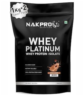 NAKPRO PLATINUM 100% Whey Protein Isolate 2 kg Coffee, 28g Protein, 6.4 BCAA & 4.9g Glutamine, Whey Protein Supplement Powder 1 kg ( Pack of 2 )