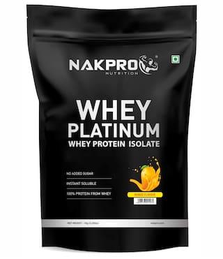 NAKPRO PLATINUM 100% Whey Protein Isolate 1 kgMango, 29g Protein, 6.7 BCAA & 5.1g Glutamine, Whey Protein Supplement Powder