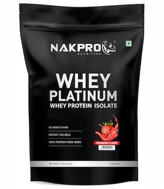 Nakpro Platinum 100% Whey Protein Isolate Supplement Powder Strawberry 1Kg