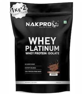 NAKPRO PLATINUM 100% Whey Protein Isolate 2 kg Chocolate, 28g Protein, 6.4 BCAA & 4.9g Glutamine, Whey Protein Supplement Powder 1 kg ( Pack of 2 )