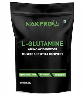 Nakpro Sports Advance L-Glutamine Powder For Muscle Growth and Recovery | Prevents Muscle Tissues From Breakdown - Unflavoured 60 Servings - 300 g