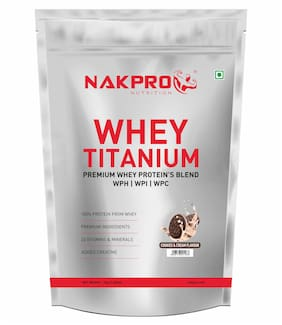 Nakpro Titanium Tri Blend Whey Protein Hydrolyse,Isolate & Concentrate,Whey Protein Supplement Powder Cookies & Cream 1 Kg (Pack Of 1)