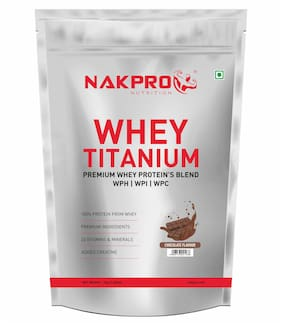 Nakpro Titanium Tri Blend Whey Protein Hydrolyse,Isolate & Concentrate,Whey Protein Supplement Powder Chocolate 1 Kg (Pack Of 1)