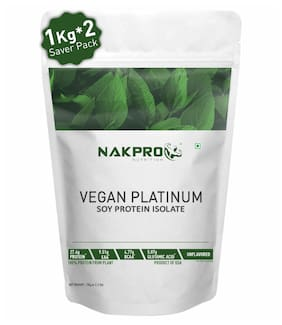 NAKPRO Vegan Soy Protein Isolate 90% | Raw, Pure, Natural & Vegetarian Plant Protein Supplement Powder 1 kg ( Pack of 2 ) )