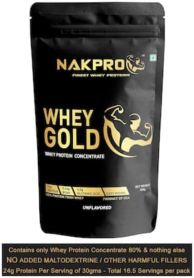 Nakpro Whey Gold Imported From USA Natural Raw Pure Unflavored 100% Whey Protein Concentrate 80% - 500g (Pack of 1)