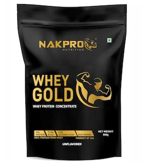NAKPRO GOLD 100% Whey Protein Concentrate, 27.1g Protein, 6g BCAA & 4.6g Glutamine, Whey Protein Concentrate Supplement Powder - 500g Unflavour