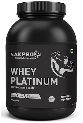 NAKPRO Platinum Whey Protein Isolate 90% (Raw, Pure, asitis, Unflavored USA made) -2 kg
