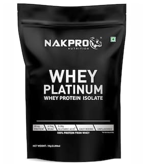 NAKPRO PLATINUM 100% Whey Protein Isolate, 30.4g Protein, 6.9 BCAA & 5.3g Glutamine, Whey Protein Isolate Supplement Powder - 1 kg Unflavour